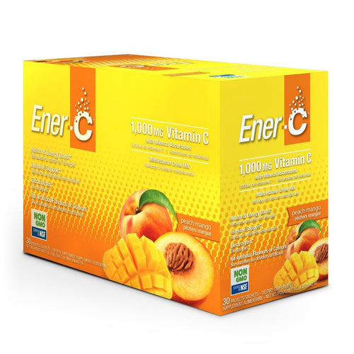 Ener-C Peach Mango Effervescent Multivitamin Drink Mix – 1000mg of Vitamin C