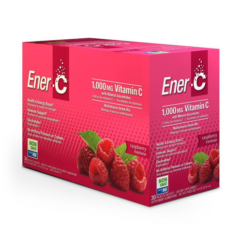 Ener-C Raspberry Effervescent Multivitamin Drink Mix – 1000mg of Vitamin C