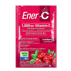 Ener-C Cranberry Effervescent Multivitamin Drink Mix – 1000mg of Vitamin C