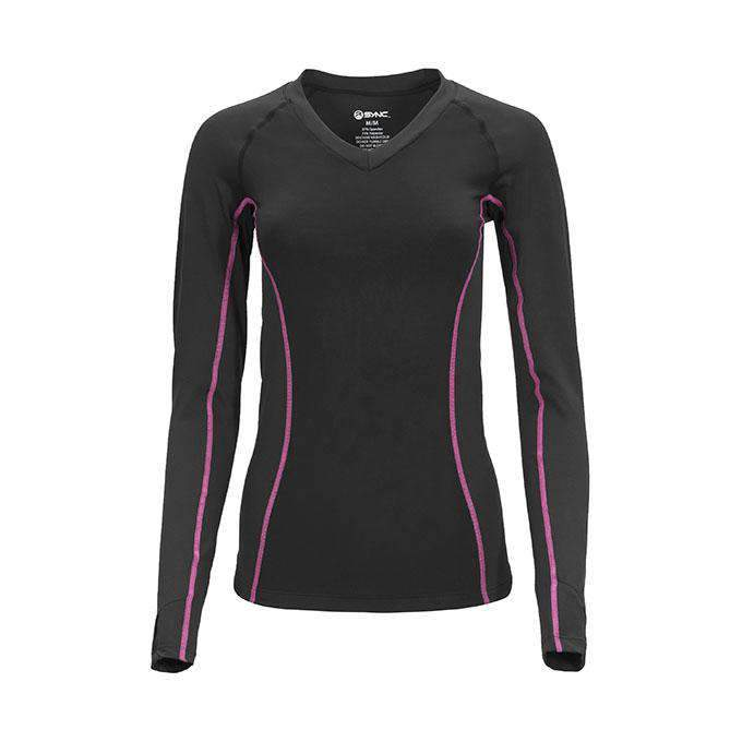sync-performance-women's-skadi-compression-shirt-black-pink