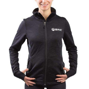 sync-performance-black-women's-training-jacket-fleece-front-model