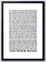 Thunder Road - Bruce Springsteen Song Lyrics Typography Print Poster Artwork