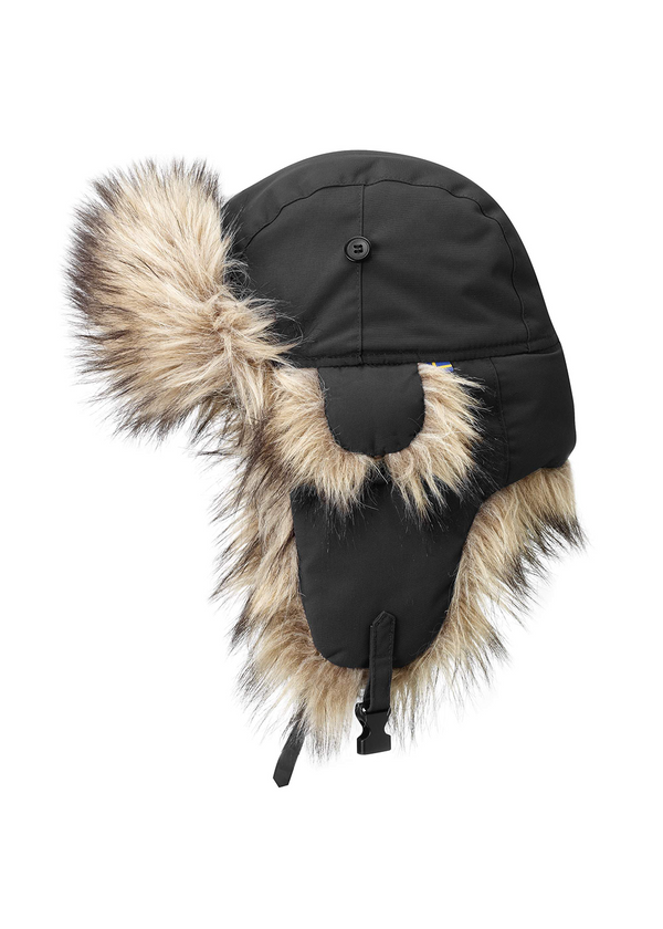 Fjallraven Nordic Heater in Black, Fort + Company, Fort Langley, Vancouver, Canada, outdoors, winter, extreme weather, polar, hats, hiking, camping