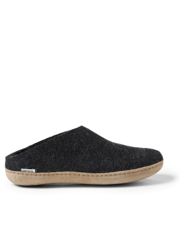 Glerups Open Heel Leather Sole Felt Slipper