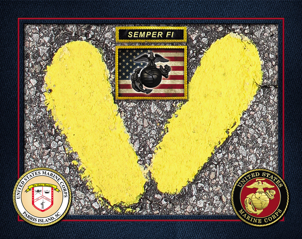 Authentic MCRD Parris Island Yellow Footprint Legacy USA FLAG SEMPER FI PHOTO PRINT