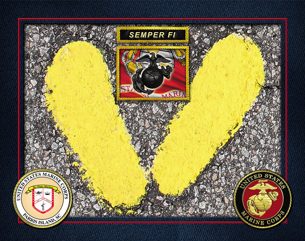 Authentic Parris Island Yellow Footprint Legacy USMC FLAG SEMPER FI PRINT