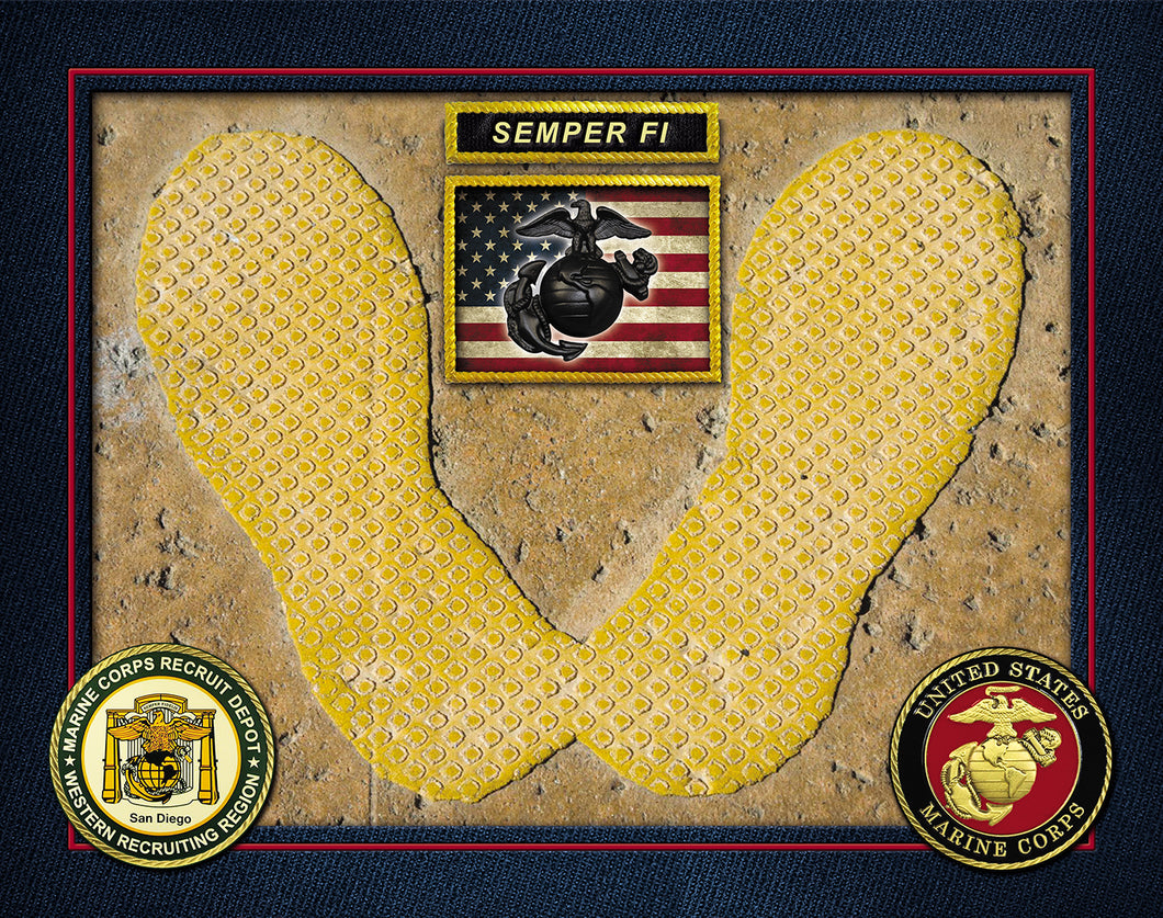 Authentic MCRD San Diego Yellow Footprint Legacy USA FLAG SEMPER FI PHOTO PRINT