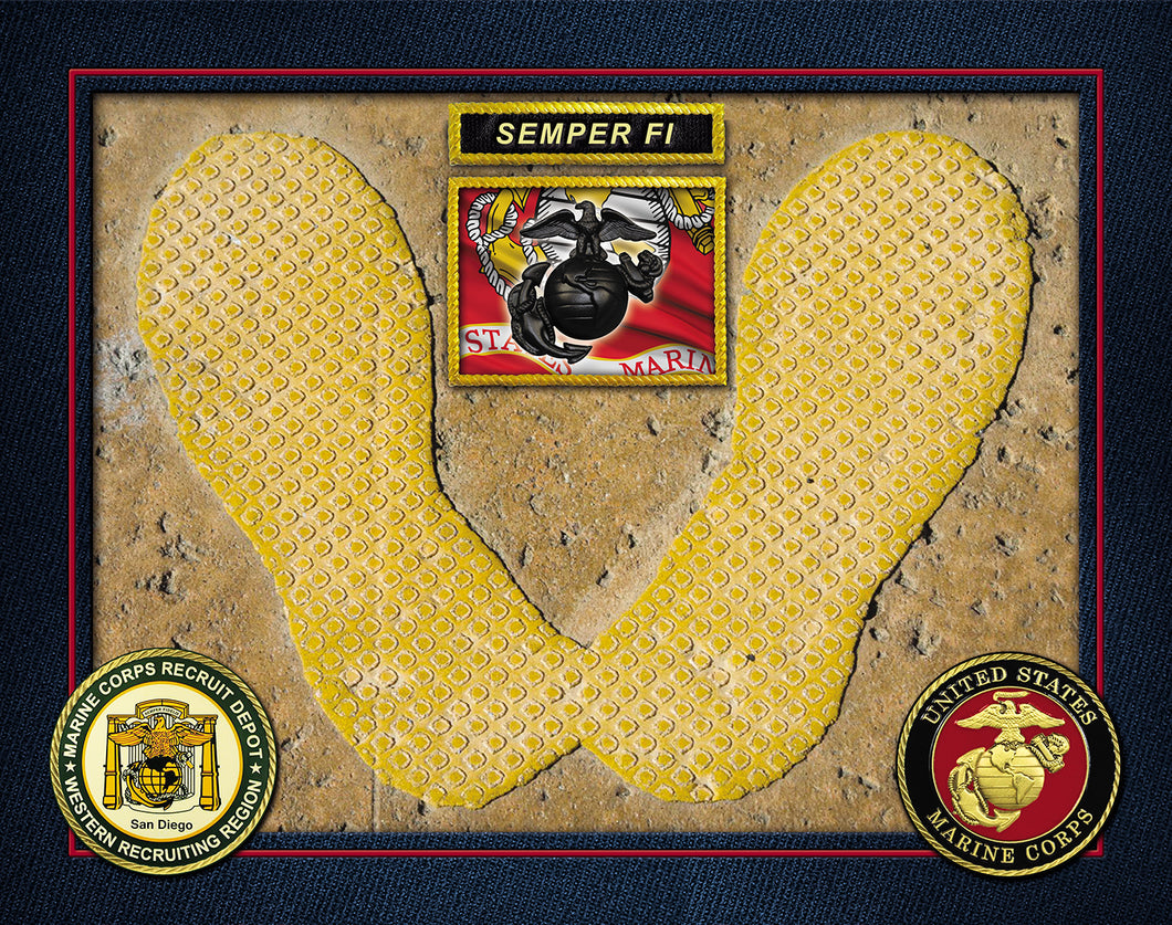 Authentic MCRD San Diego Yellow Footprint Legacy USMC FLAG SEMPER FI PHOTO PRINT