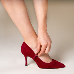 Gutsy Garnet Suede Mary Jane Pump