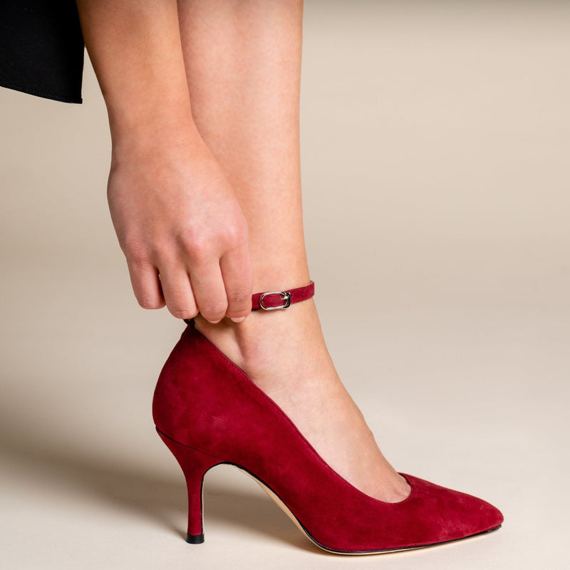 Red Patent Leather Ankle Strap Pump