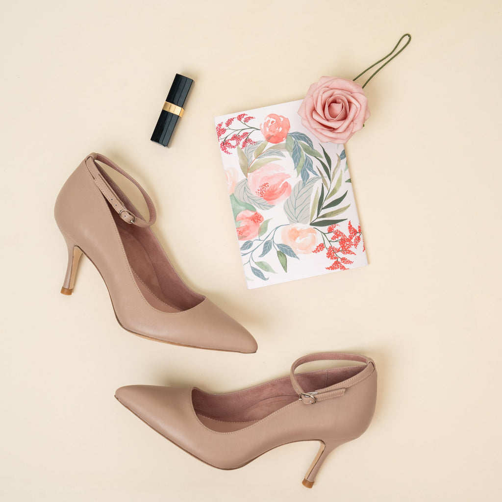 Bossy Beige Leather Ankle Strap Pump