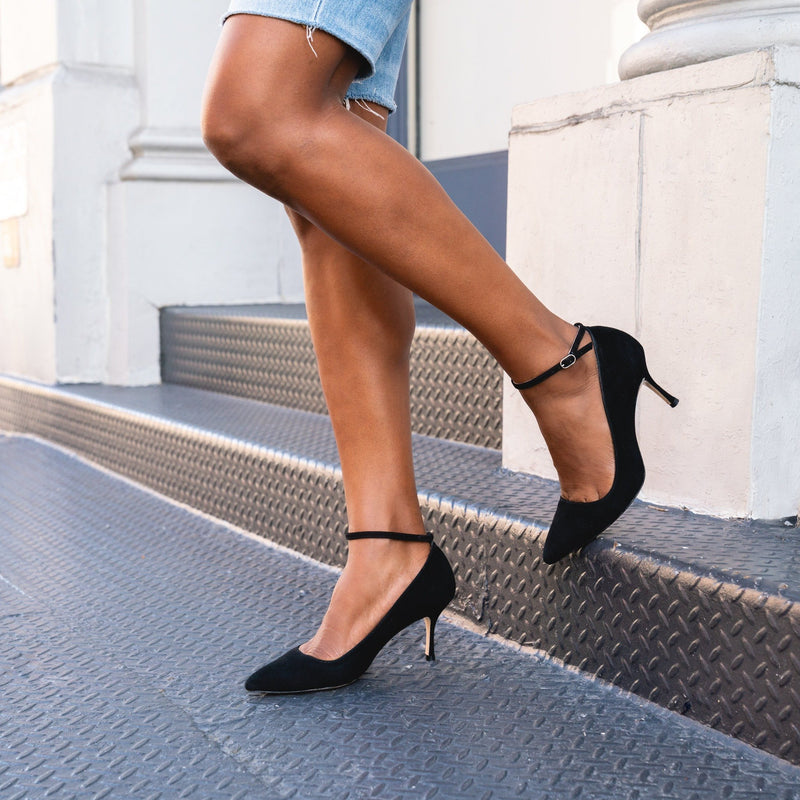 Good Night Navy Leather Ankle Strap Pump