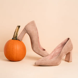 Tenacious Tan Suede Block Heel Pump - Comfortable Heels - Ally Shoes