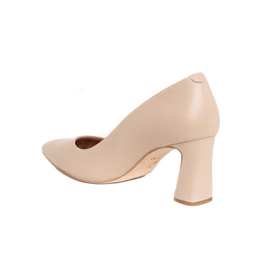 Bossy Beige Leather Block Heel Pump - Comfortable Heels - Ally Shoes