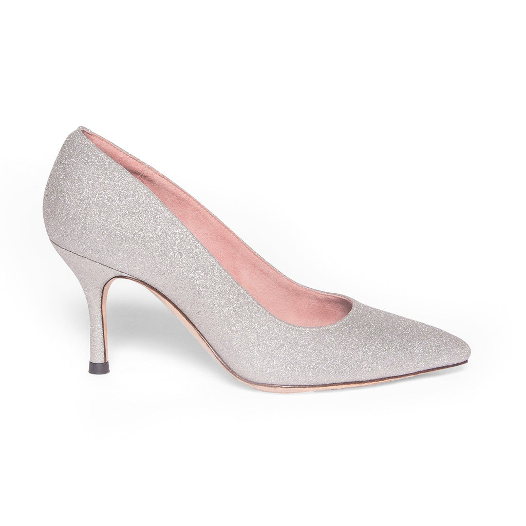 Silver Shimmer Pump - Comfortable Heels - Ally Shoes