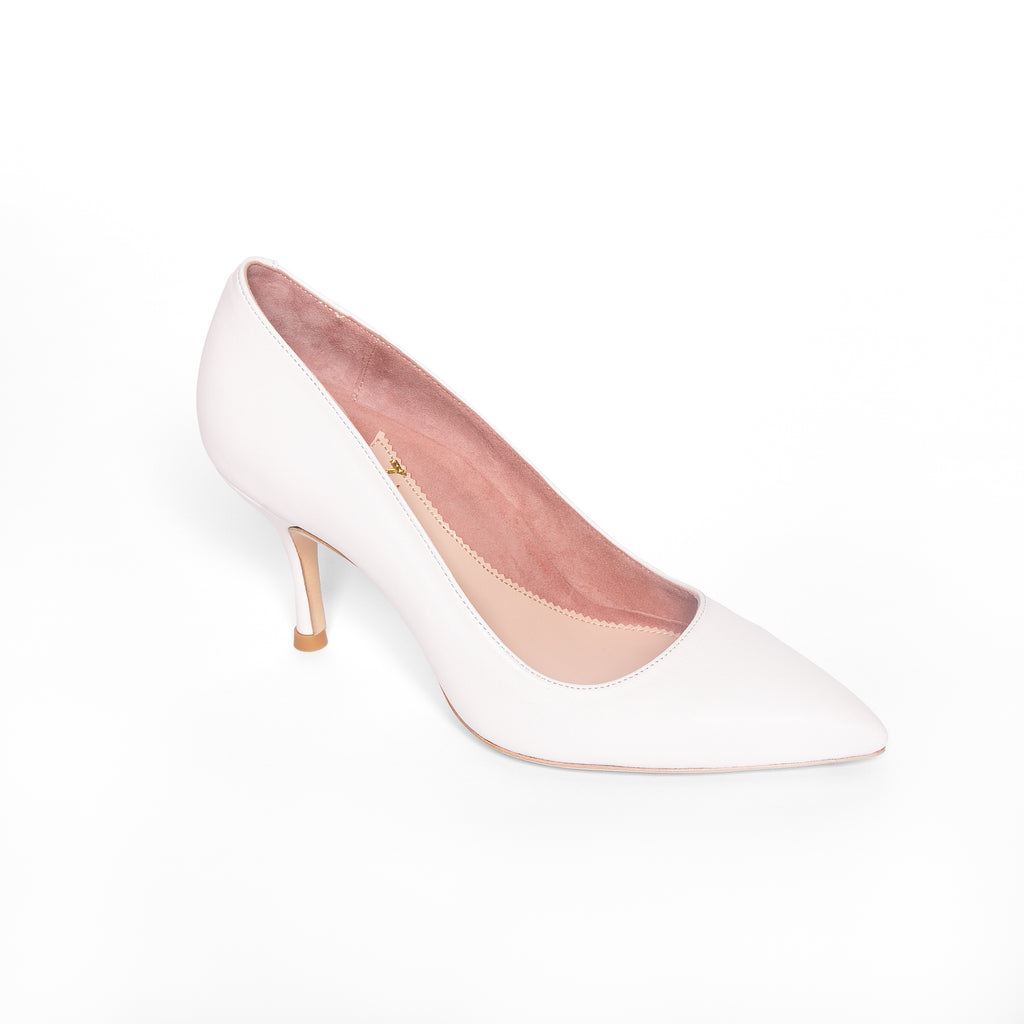 Classic White Leather Pump