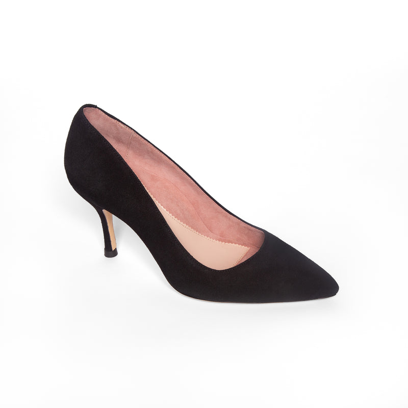 Black Suede Pump - Comfortable Heels - Ally Shoes