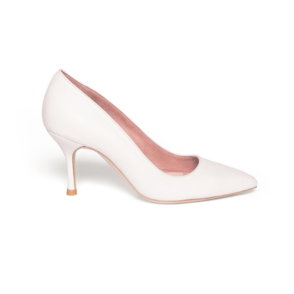 Classic White Leather Pump - Comfortable Heels - Ally Shoes