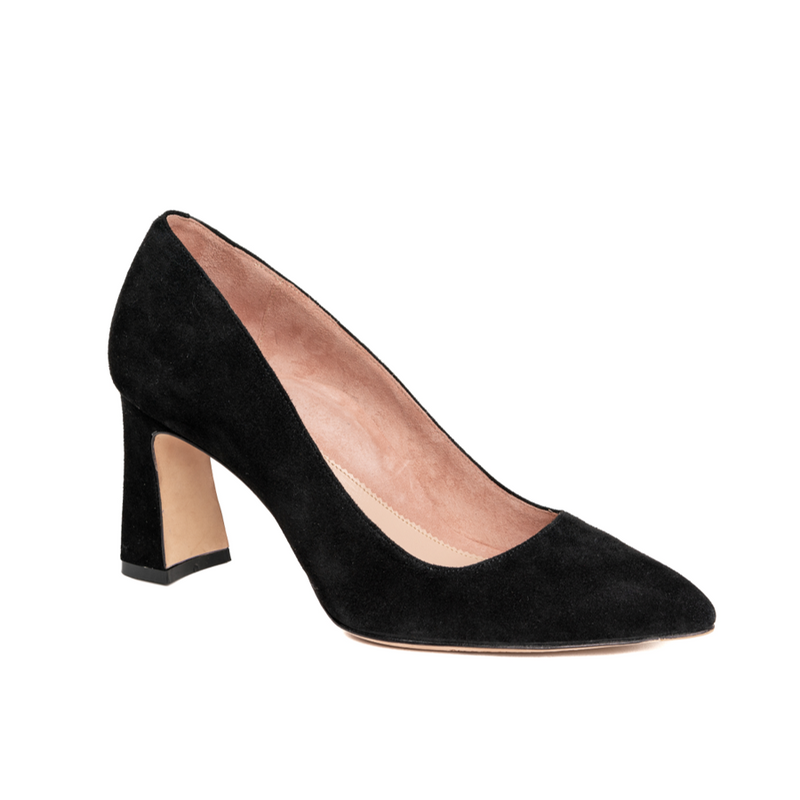 Black Suede Block Heel Pump - Comfortable Heels - Ally Shoes