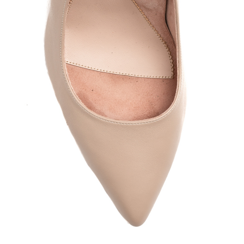 Bossy Beige Leather Mary Jane Pump