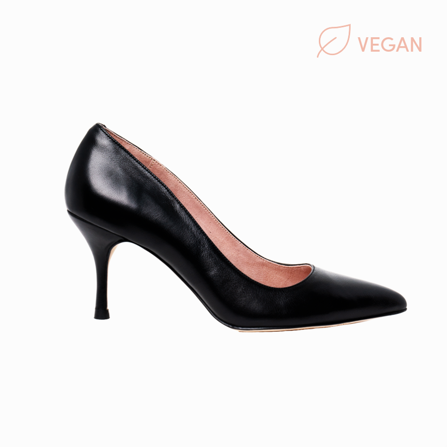 Vegan Black Leather Pump