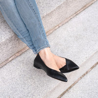Black Leather Flat - Comfortable Flats - Ally Shoes