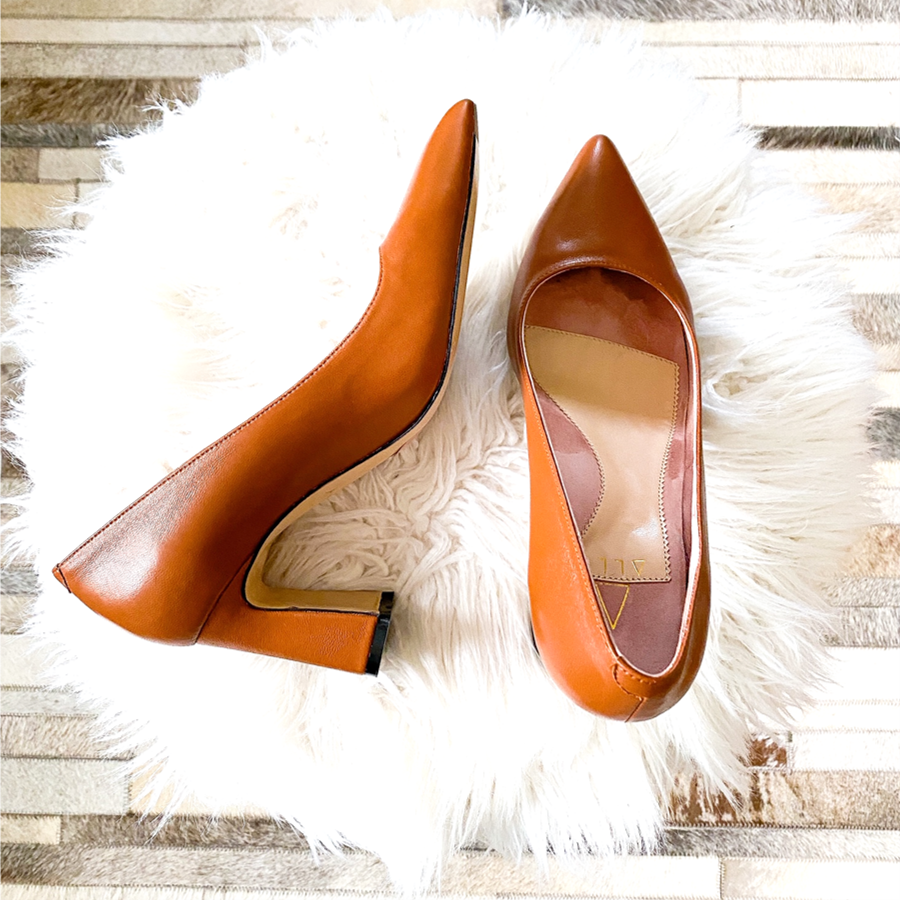 Courageous Caramel Leather Block Heel Pump - Comfortable Heels - Ally Shoes