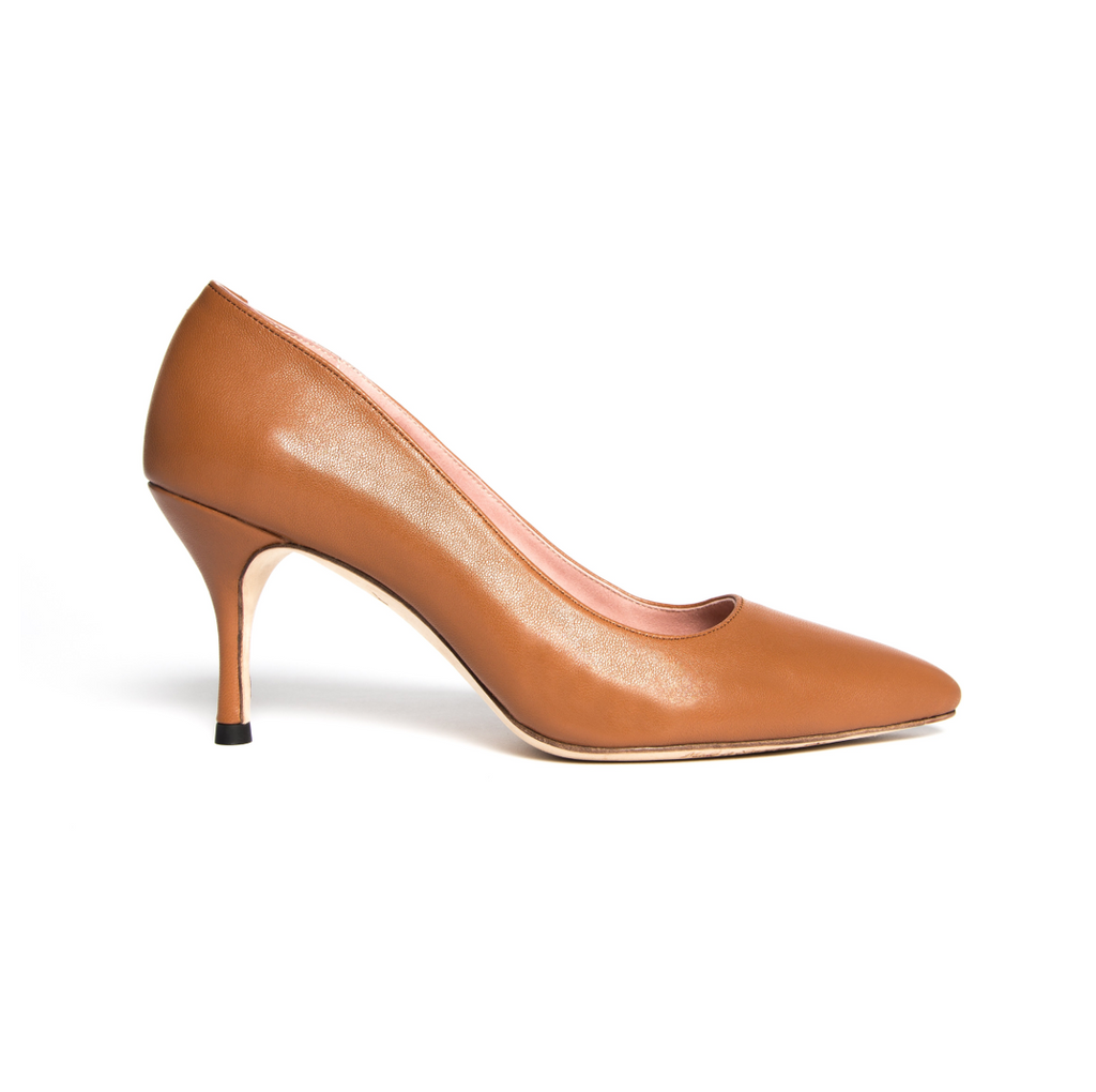 Courageous Caramel Leather Pump - Comfortable Heels - Ally Shoes