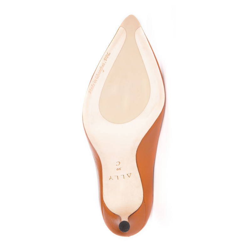 Courageous Caramel Leather Ankle Strap Pump