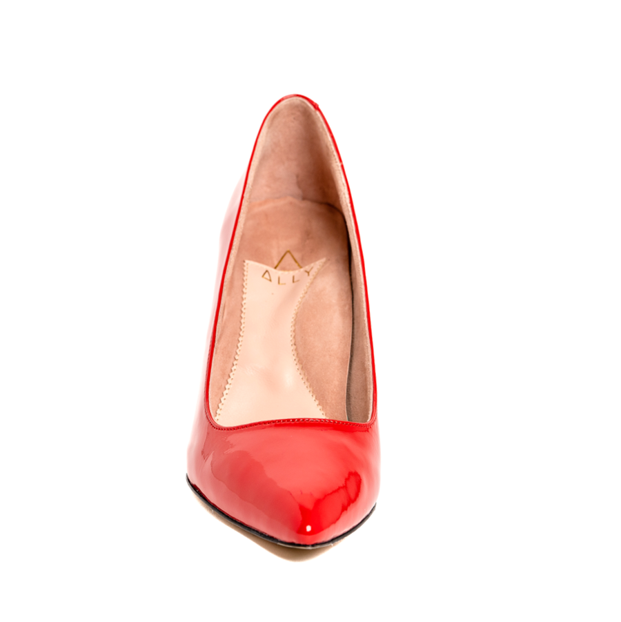 Red Patent Leather Block Heel Pump