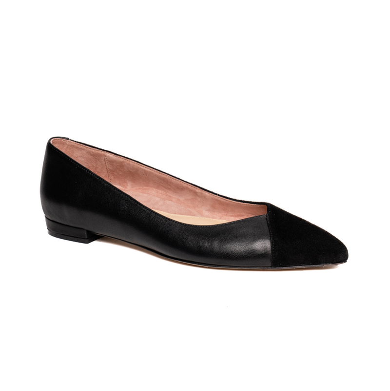 Black Suede / Leather Flat - Comfortable Flats - Ally Shoes