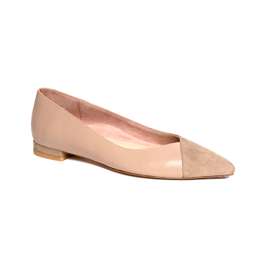 Tenacious Tan Suede / Bossy Beige Leather Flat - Comfortable Flats - Ally Shoes