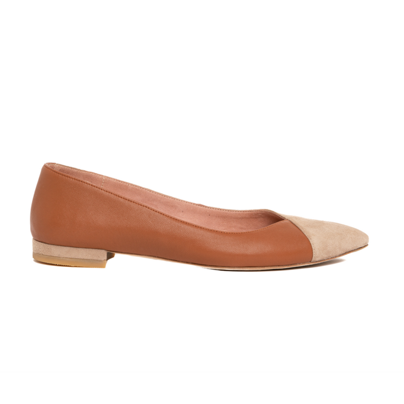 Tenacious Tan Suede / Courageous Caramel Leather Flat - Comfortable Flats - Ally Shoes