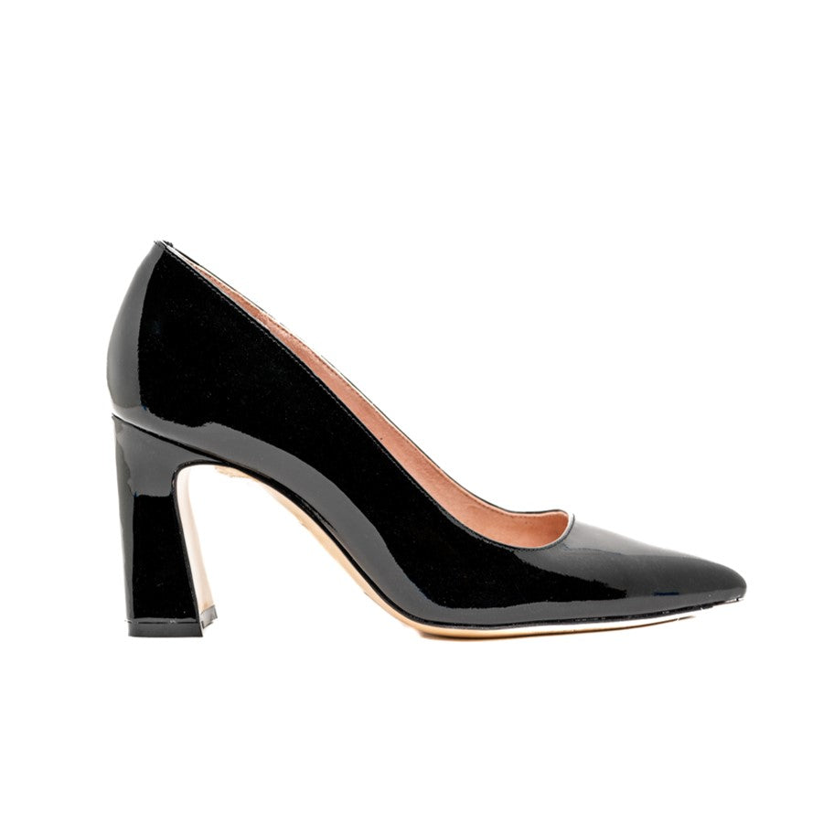Black Patent Leather Block Heel Pump