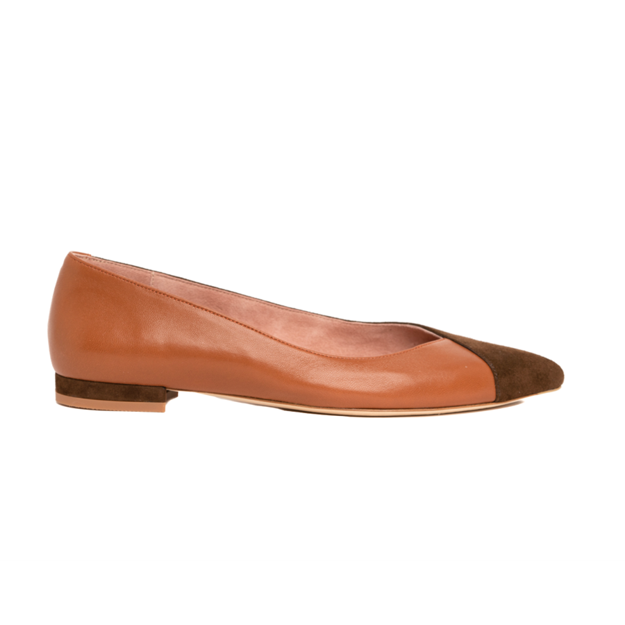 Moxie Mocha Suede / Courageous Caramel Leather Flat - Comfortable Flats - Ally Shoes