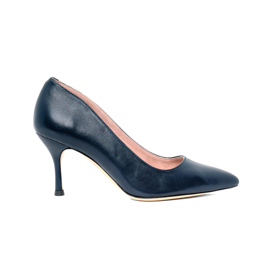 Good Night Navy Leather Pump - Comfortable Heels - Ally Shoes