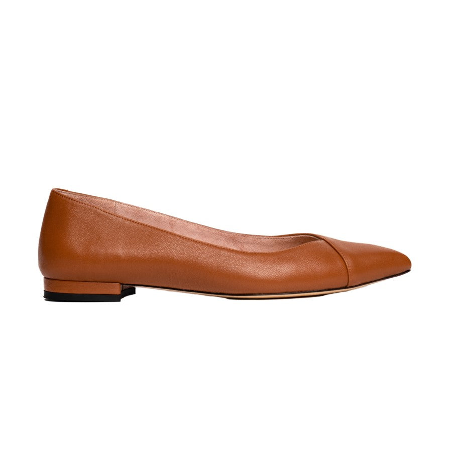 Courageous Caramel Leather Flat - Comfortable Flats - Ally Shoes