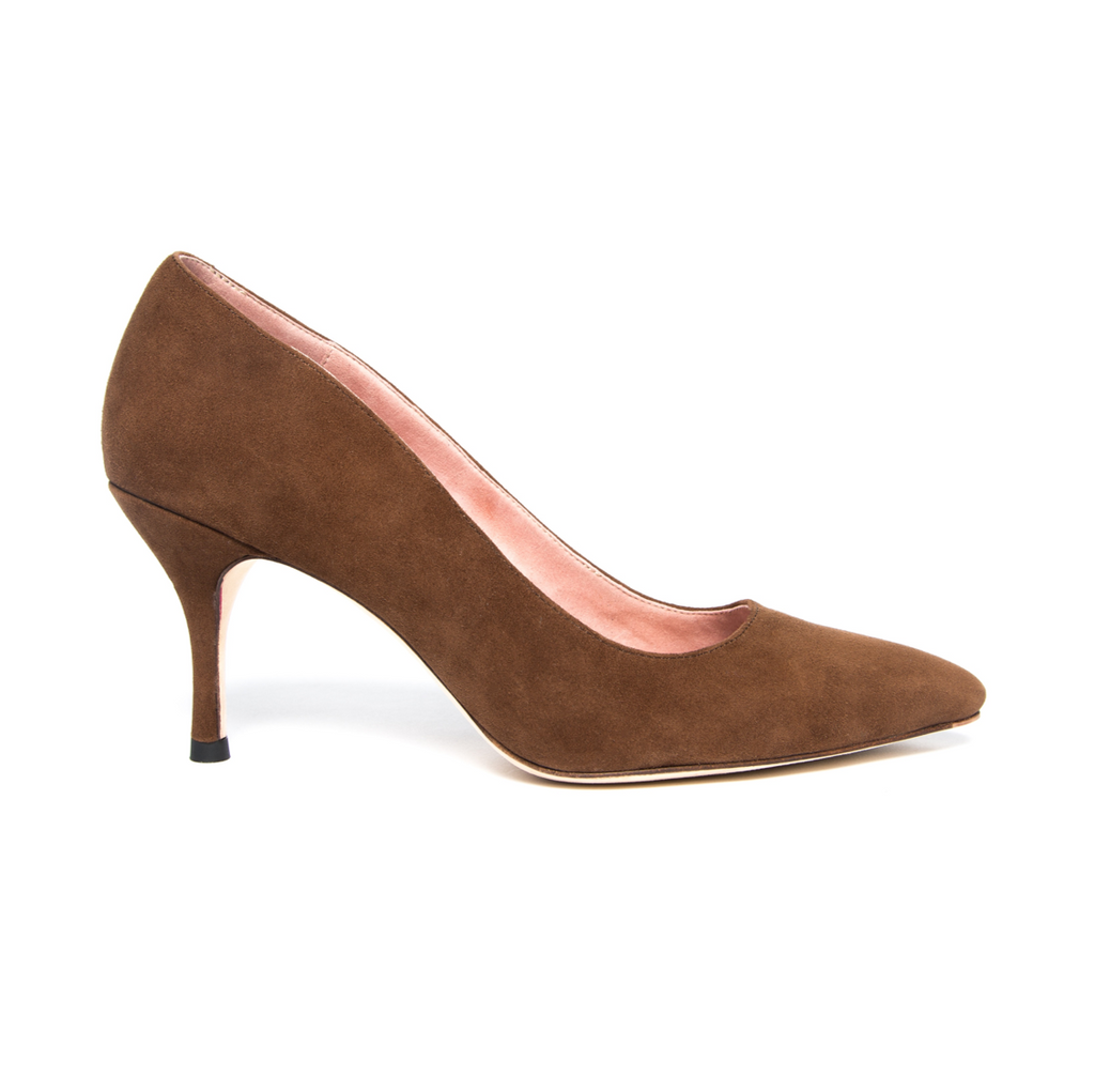 Moxie Mocha Suede Pump - Comfortable Heels - Ally Shoes