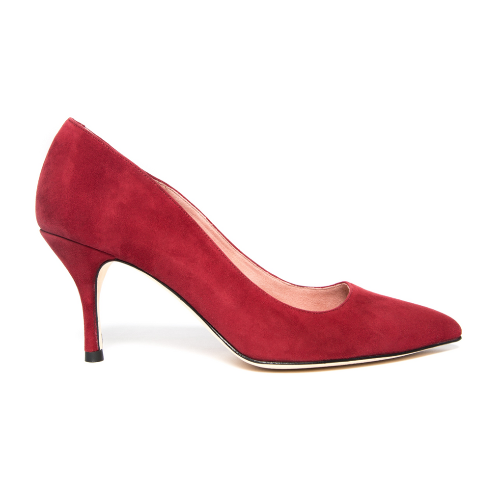 Gutsy Garnet Suede Pump - Comfortable Heels - Ally Shoes