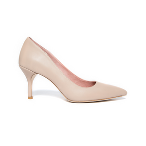 Bossy Beige Leather Pump - Comfortable Heels - Ally Shoes