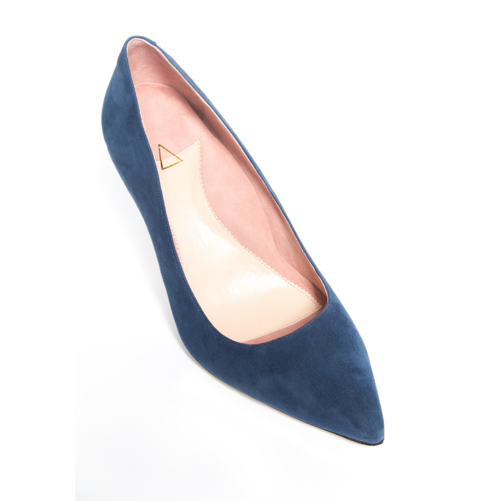 Noble Navy Suede Pump - Comfortable Heels - Ally Shoes