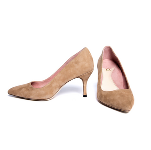Tenacious Tan Suede Pump - Comfortable Heels - Ally Shoes