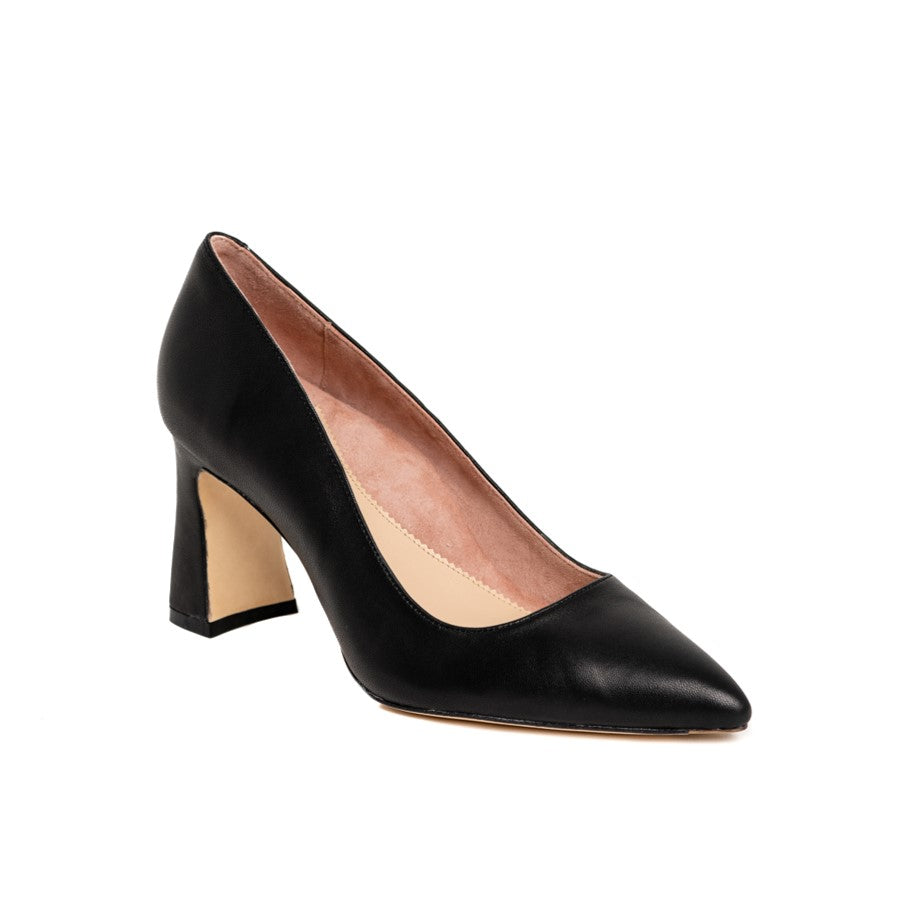 Black Leather Block Heel Pump