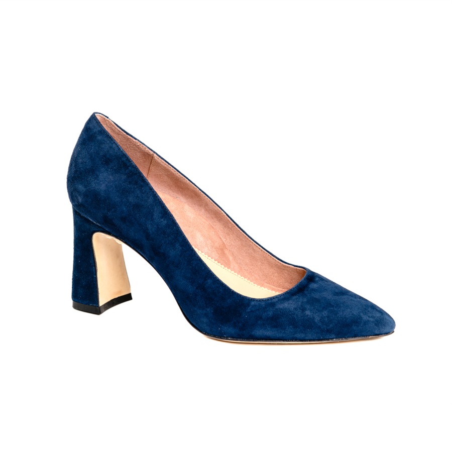 Noble Navy Suede Block Heel Pump