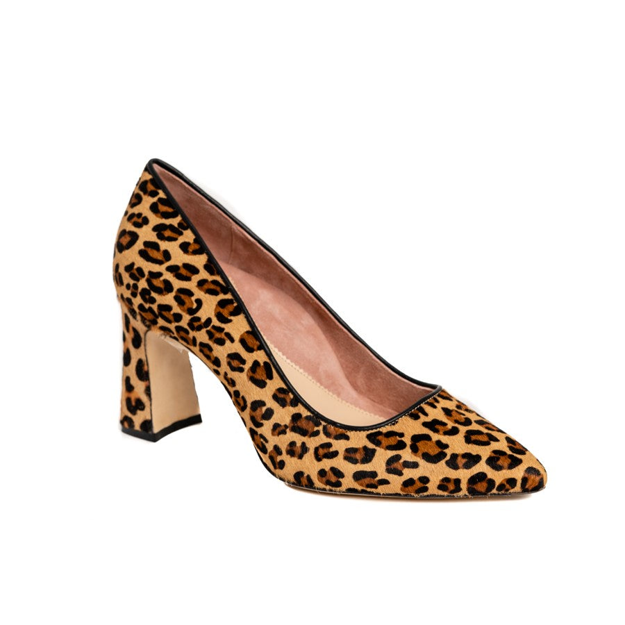 Fierce Leopard Haircalf Block Heel Pump