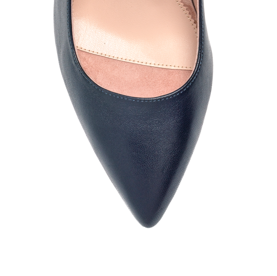 Good Night Navy Leather Block Heel Pump