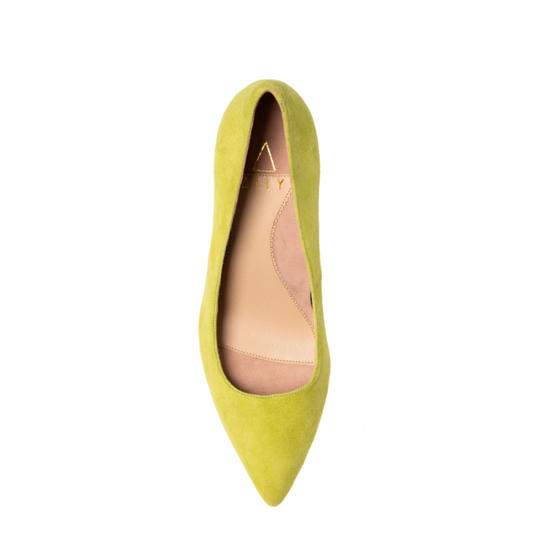 Lively Lime Suede Block Heel Pump (Limited Edition)