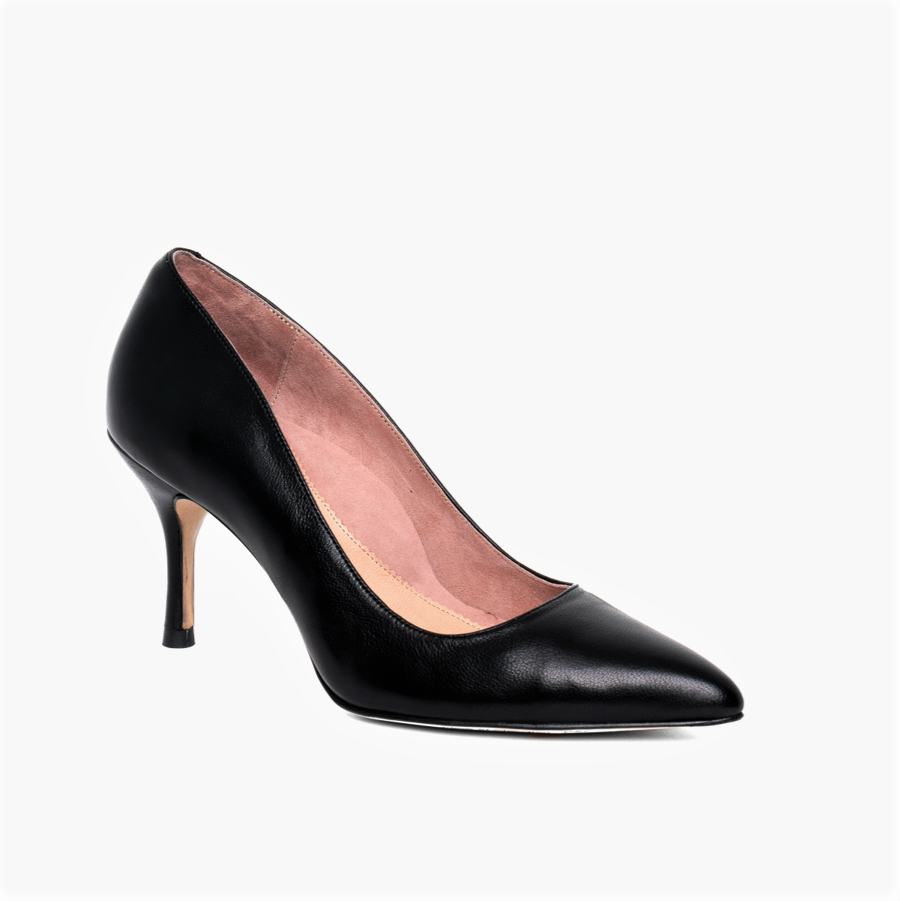 Black Leather Pump - Comfortable Heels - Ally Shoes
