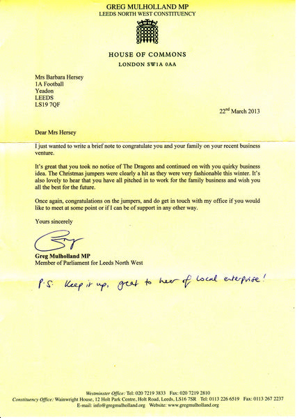 MP letter for Woolly Babs Christmas Jumpers
