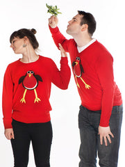 Matching his hers Christmas jumpers robin
